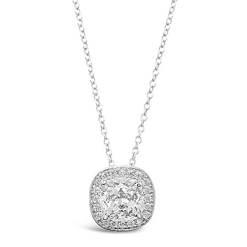 Bitter Sweet Sterling Silver Cubic Zirconia Square Necklace 129480