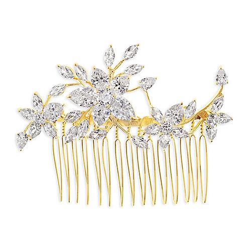 Bridal Gold Cubic Zirconia Hair Comb 143602