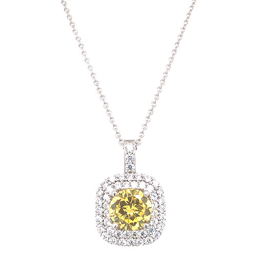 Bitter Sweet Sterling Silver Cubic Zirconia Square Necklace 141395