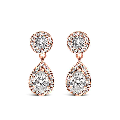 Bridal Rosegold Cubic Zirconia Drop Earrings 143588