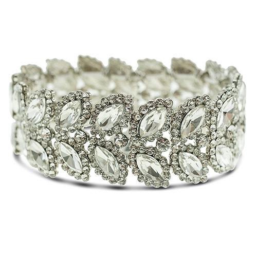 Fashion Silver Crystal Elastic Leaf Bracelet 140973