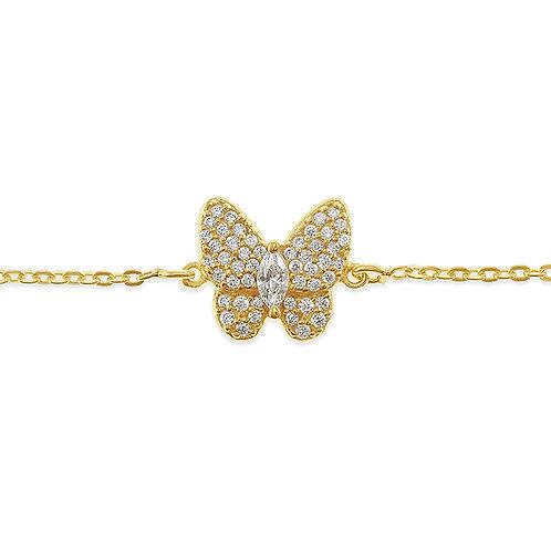 Bitter Sweet Gold Plated Sterling Silver Cubic Zirconia Butterfly Bracelet 141843