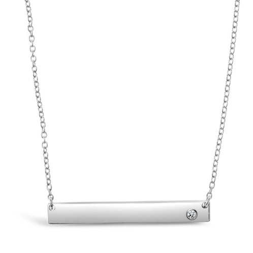 Sterling Silver Cubic Zirconia Bar Necklace 129295