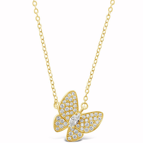 Bitter Sweet Gold Plated Sterling Silver Cubic Zirconia Butterfly Necklace 143387