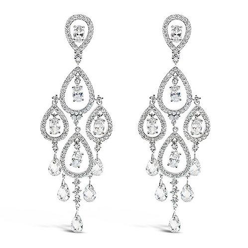 Bridal Cubic Zirconia Tear Drop Chandelier Earrings 108971
