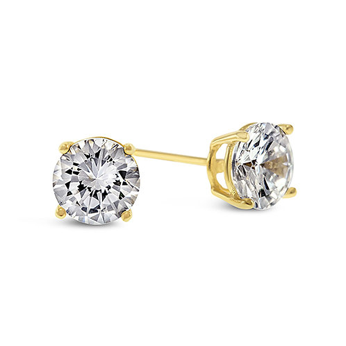 Bitter Sweet Yellow Gold Plated Sterling Silver Cubic Zirconia 3mm Studs 104997