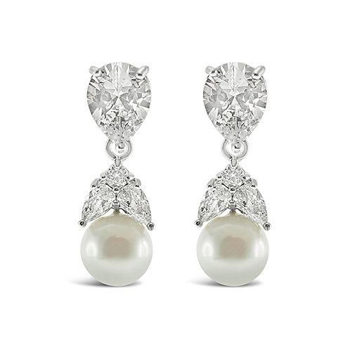 Bitter Sweet Bridal Pearl Cubic Zirconia Drop Earrings 139554