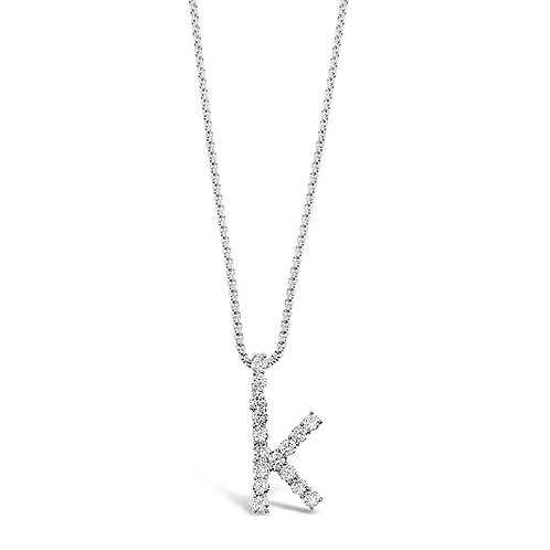 Bitter Sweet Jewelery Stainless Steel Cubic Zirconia Initial K Necklace 142318