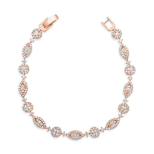 Bridal Rose Gold Cubic Zirconia Bracelet 137422
