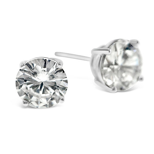 Bitter Sweet Sterling Silver Cubic Zirconia Round 8mm Studs 001459