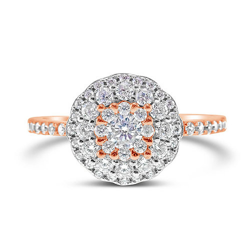 Bitter Sweet Rose Gold Plated Sterling Silver Cubic Zirconia Ring 132134