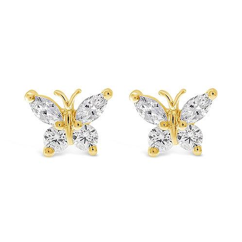 Bitter Sweet Gold Plated Sterling Silver Cubic Zirconia Butterfly Earrings 143355