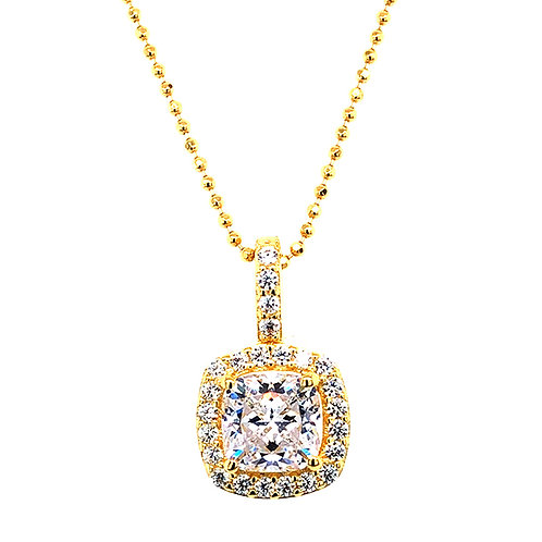 Bitter Sweet Gold Plated Sterling Silver Cubic Zirconia Square Necklace 143468