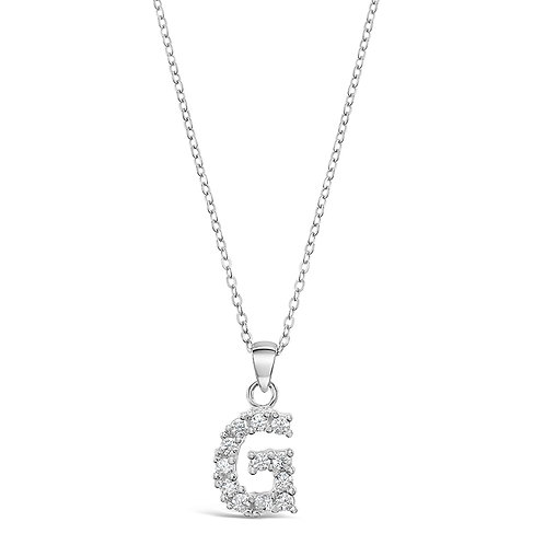 Sterling Silver Cubic Zirconia Initial G Necklace
