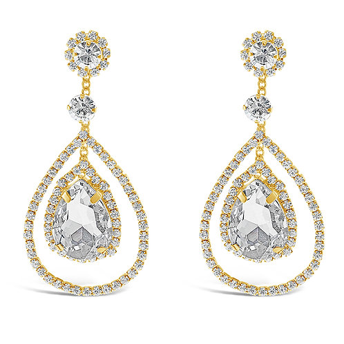 Fashion Gold Rhinestones Tear Drop Earrings 142189