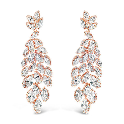 Bitter Sweet Rose Gold Cubic Zirconia Drop Earrings 142886