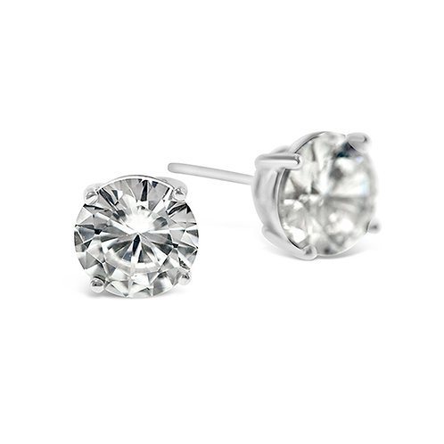Bitter Sweet Sterling Silver Cubic Zirconia Round 4mm Studs 001455