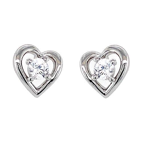 Bitter Sweet Sterling Silver Cubic Zirconia Heart Stud Earrings 143556
