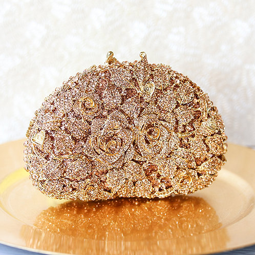 Rosegold Rose Crystal Clutch 141030