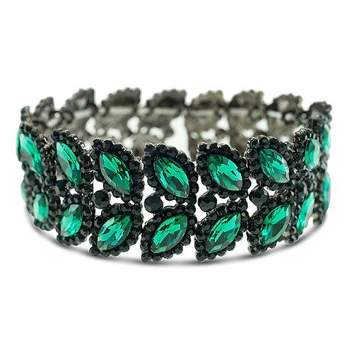 Fashion Green Crystal Elastic Leaf Bracelet 140974