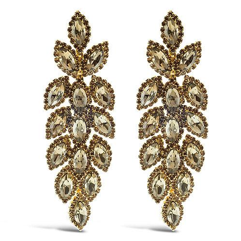 Fashion Rose Gold Crystal Leaf Drop Earrings 140986