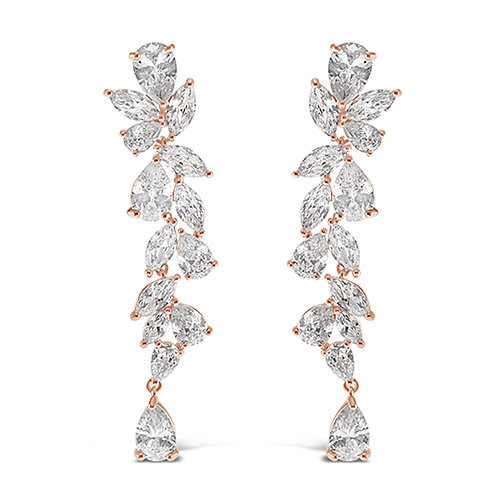 Rose Gold Cubic Zirconia Drop Earrings 142878