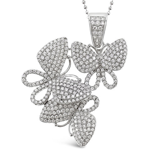 Sterling Silver Cubic Zirconia Butterfly Necklace 143140