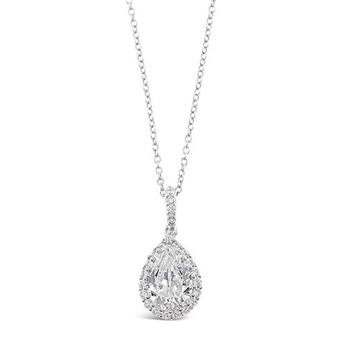 Bitter Sweet Sterling Silver Cubic Zirconia Tear Drop Necklace 124199