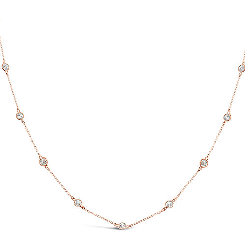 Bitter Sweet Rosegold Plated Sterling Silver Cubic Zirconia 4mm Bazel Necklace 143314