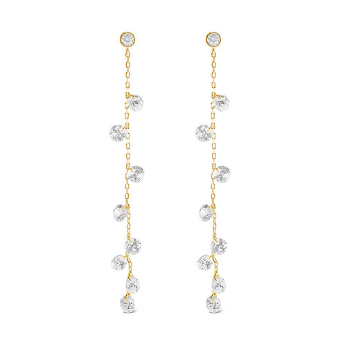 Gold Plated Sterling Silver Cubic Zirconia Long Earrings 143191