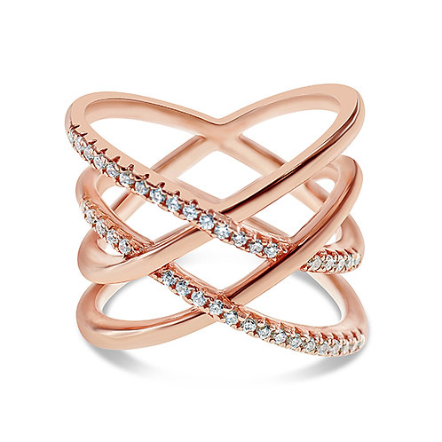 Bitter Sweet Rose Gold Plated Sterling Silver Cubic Zirconia Ring 128071
