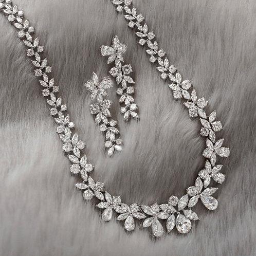 Cubic Zirconia Necklace & Earrings Set 137438