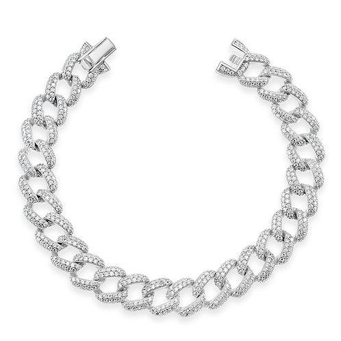 Bitter Sweet Sterling Silver Cubic Zirconia Cuban Bracelet 142557