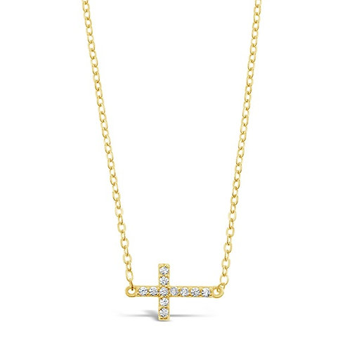 Bitter Sweet Gold Plated Sterling Silver Cubic Zirconia Cross Sideway Necklace 142496