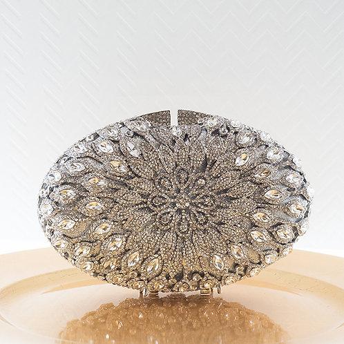 Silver Oval Crystal Clutch 143558