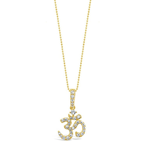 Bitter Sweet Gold Plated Sterling Silver Cubic Zirconia OM Necklace 142547