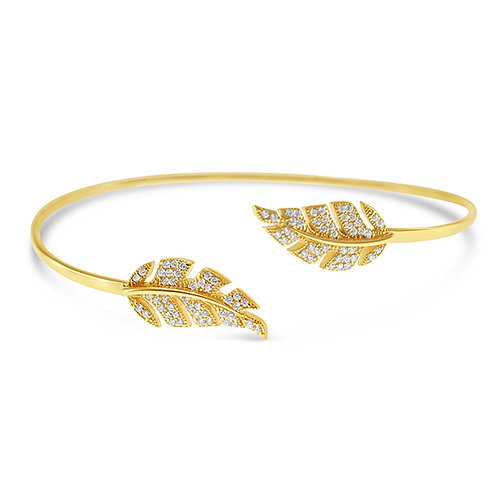 Bitter Sweet Gold Plated Sterling Silver Cubic Zirconia Leaf Bangle 126487