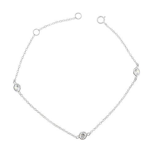 Bitter Sweet Sterling Silver Cubic Zirconia Bezel Bracelet 143315