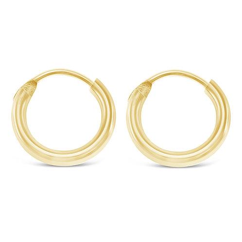 Bitter Sweet Gold Plated Sterling Silver Plain 12mm Hoops Earrings 141784