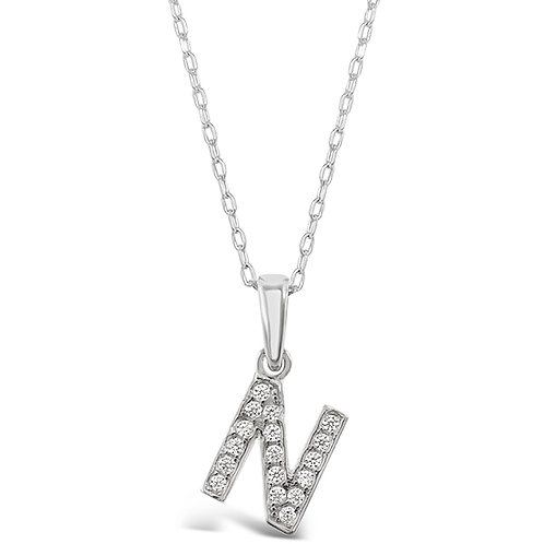 Bitter Sweet Sterling Silver Cubic Zirconia Initial N Necklace 135930