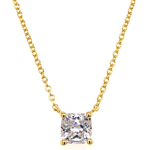 Bitter Sweet Gold Plated Sterling Silver Cubic Zirconia Cushion Cut Necklace 143481