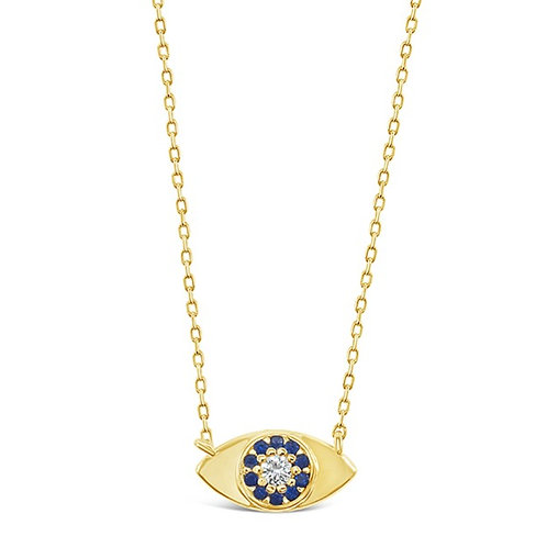 Bitter Sweet Gold Plated Sterling Silver Cubic Zirconia Evil Eye Necklace 142489