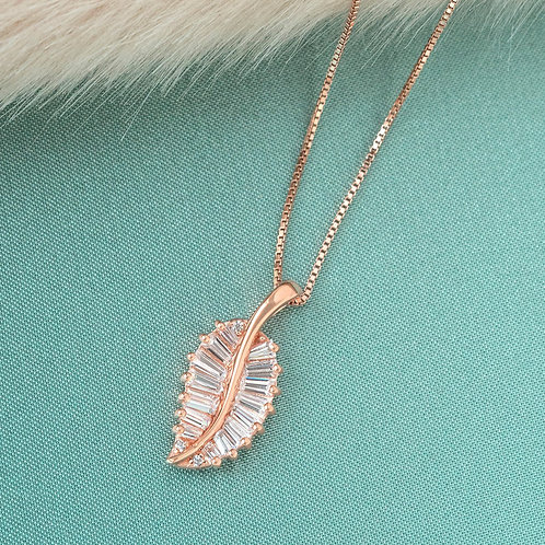 Bitter Sweet Rose Gold Plated Sterling Silver Cubic Zirconia Necklace 141377