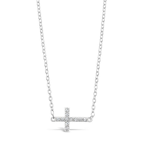 Bitter Sweet Sterling Silver Cubic Zirconia Cross Sideway Necklace 142495