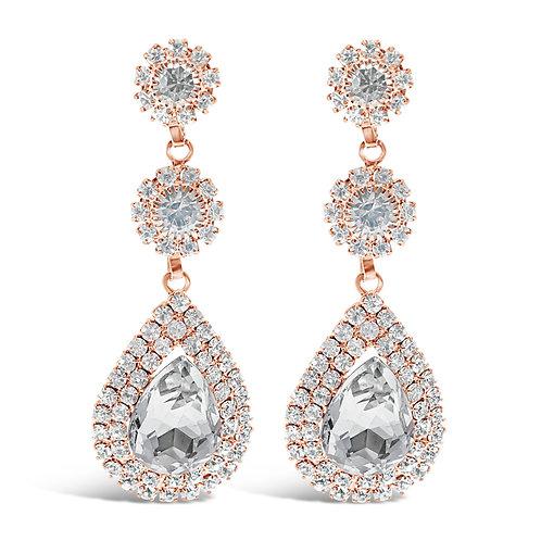 Fashion Rose Gold Rhinestones Earrings 142182
