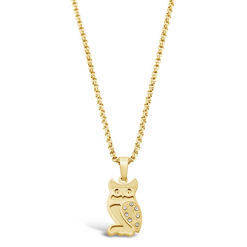 Bitter Sweet Jewellery Stainless Steel Gold Owl Necklace 136311