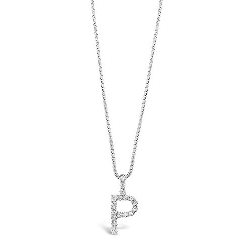 Bitter Sweet Jewelery Stainless Steel Cubic Zirconia Initial P Necklace 142323