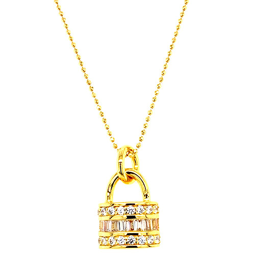 Bitter Sweet Gold Plated Sterling Silver Cubic Zirconia Lock Baguette Necklace 143509