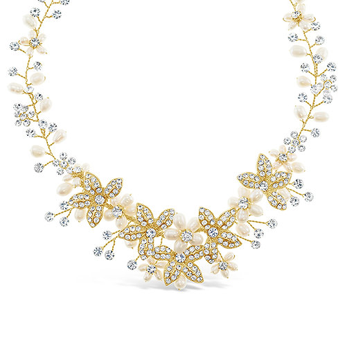 Bridal Gold Crystsal Wired Necklace 129550-8883