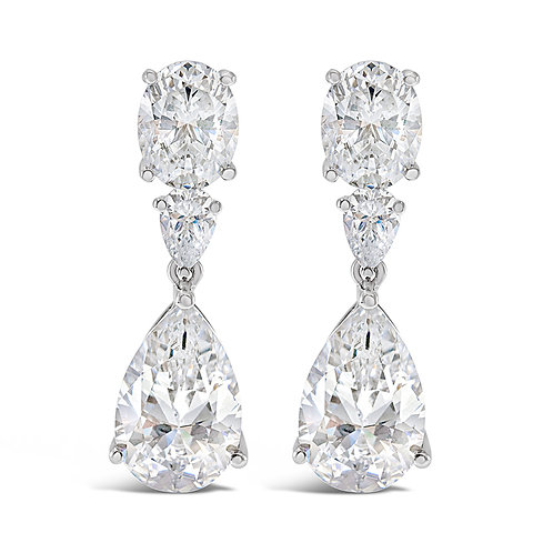 Sterling Silver Cubic Zirconia Tear Drop Earrings 141676